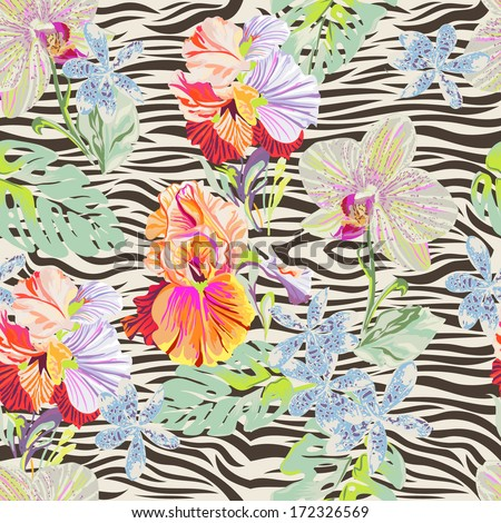 Tropical flowers on zebra ~ seamless vector print - stock vector