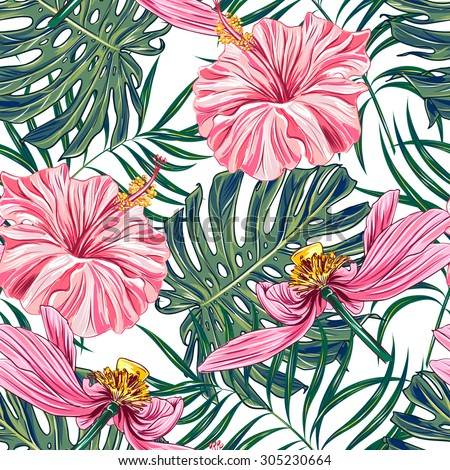 Tropical Flowers Palm Leaves Hibiscus Pink Lotus Seamless Vector Floral Jungle Pattern