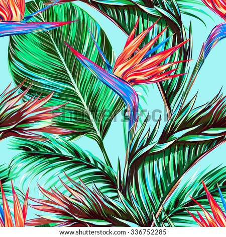 Tropical flowers, palm leaves, jungle leaves, bird of paradise flower. Beautiful seamless vector floral pattern background, exotic print - stock vector