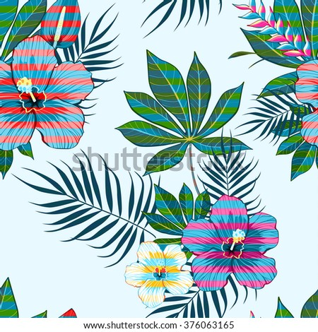 Tropical flowers pattern - stock vector