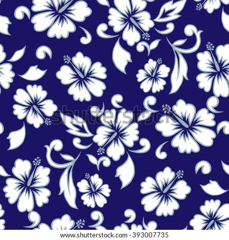 Tropical flowers seamless pattern hawaii