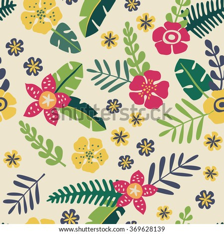 Tropical flowers - vector seamless pattern - stock vector