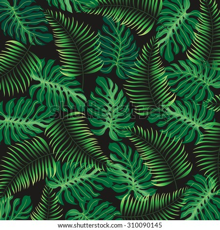 Tropical foliage on a black background, pattern, palm tree leaves - vector background EPS10 - stock vector