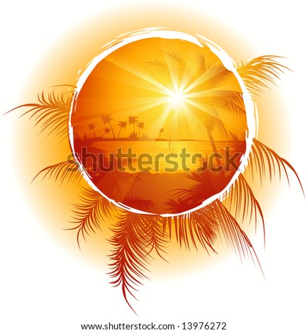 Tropical frame, sunset on the beach, vector illustration, EPS file included - stock vector