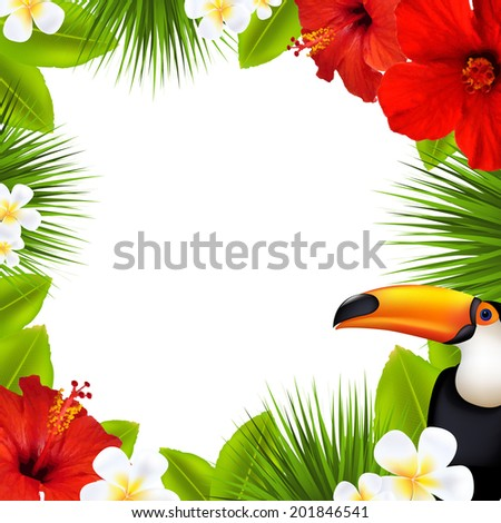 Tropical Frame, With Gradient Mesh, Vector Illustration - stock vector