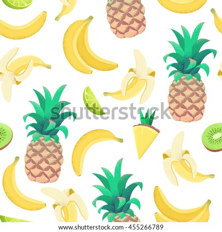 Tropical fruit seamless pattern. Background with bananas, pineapples, lime and kiwi. Retro vector illustration