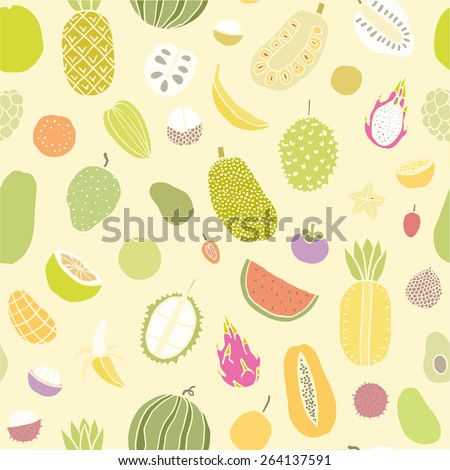 Tropical fruits seamless pattern. Vector hand drawn illustration - stock vector