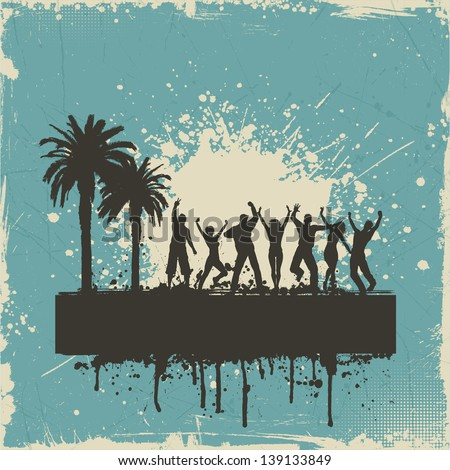 Tropical grunge background with silhouettes of people dancing - stock vector