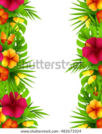 Tropical hawaiian background jungle palm tree stock photo photo tropical hawaiian background with jungle palm tree leaves exotic flowers and butterflies vertical vector stopboris Images