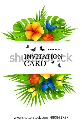 Tropical hawaiian background jungle palm tree stock vector 480861727 tropical hawaiian background with jungle palm tree leaves exotic flowers and rainbow butterflies vertical stopboris Images