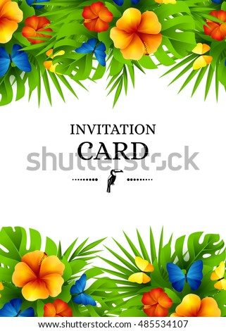 Tropical hawaiian background jungle palm tree stock vector tropical hawaiian background with jungle palm tree leaves exotic flowers and rainbow butterflies vertical stopboris Gallery