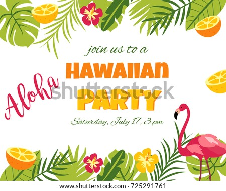 Tropical hawaiian poster flamingo party template stock vector tropical hawaiian poster with flamingo party template invitation banner card stopboris Gallery