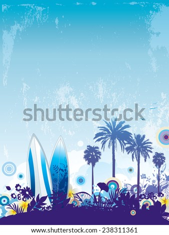 Tropical holiday design with busy footer and plenty copy space. - stock vector