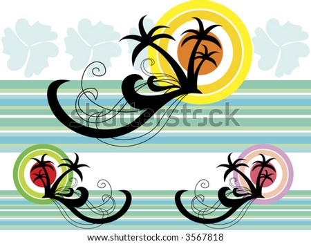 Tropical Holiday in 3 colour combo (vector) - illustration - stock vector