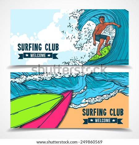 Tropical holidays vacation surfing club horizontal banners set with ocean waves board rider abstract isolated vector illustration - stock vector