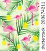 tropical illustration/vector flamingo and leaf and pineapple - stock vector