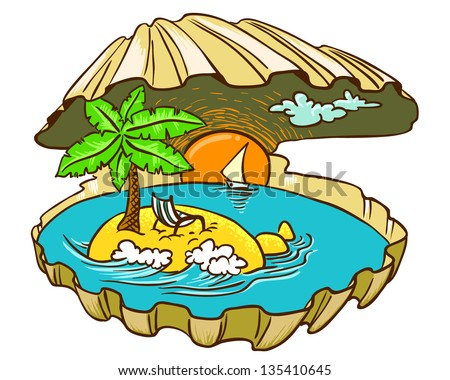 Tropical island paradise in the shell, color version - stock vector