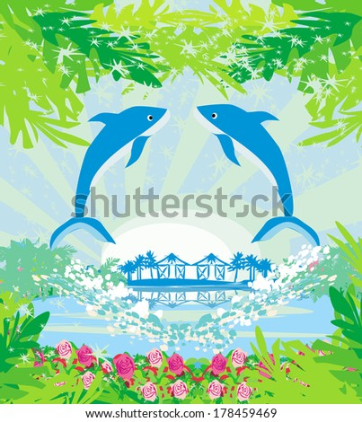 Tropical island paradise with leaping dolphins - stock vector