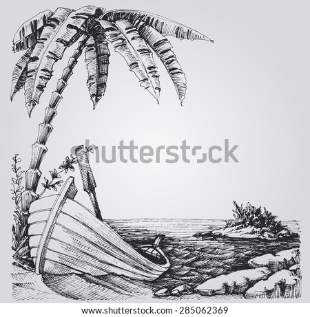 Tropical island sketch, sea shore, palm trees and boat summer design - stock vector