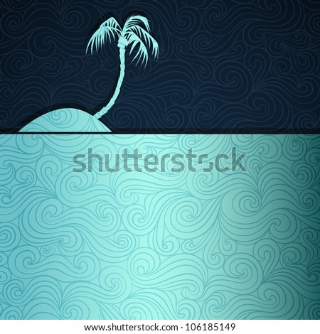 Tropical island. Summer banner made of fancy paper, vector eps8 illustration