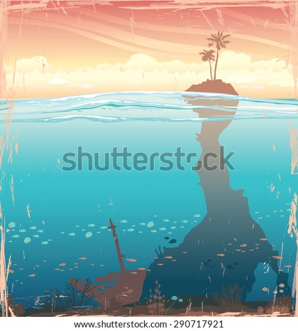 Tropical island with coconut tree and underwater cave with coral reef on a sunset sky. Nature vector illustration. - stock vector