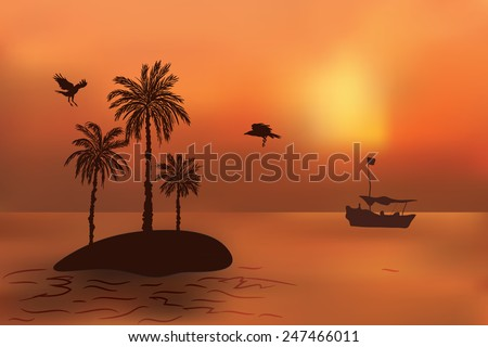 Tropical island with palm trees at sunset. The fishermen's boat swims to the island. - stock vector