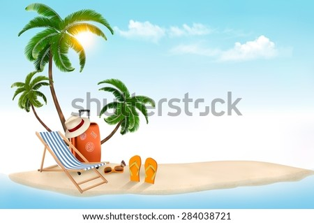 Tropical island with palms, a beach chair and a suitcase. Vacation vector background. Vector. - stock vector
