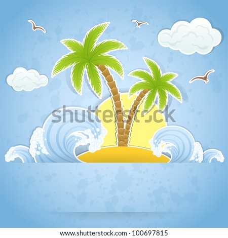 Tropical island with palms and waves, illustration - stock vector
