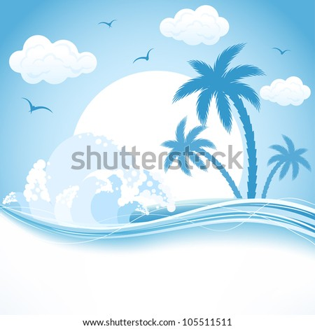 Tropical Island with palms and waves, illustration.