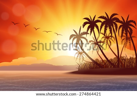 Tropical island with palms at sunset , vector illustration - stock vector