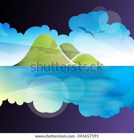 Tropical islands dreams, vector illustration for Your design, eps10