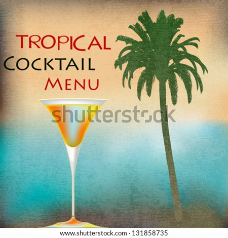 Tropical Isle Cocktails, vector template for an exotic drinks menu - stock vector