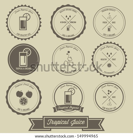 Tropical Juice Vintage Label Design - stock vector