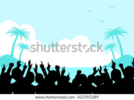 Tropical landscape and a crowd
