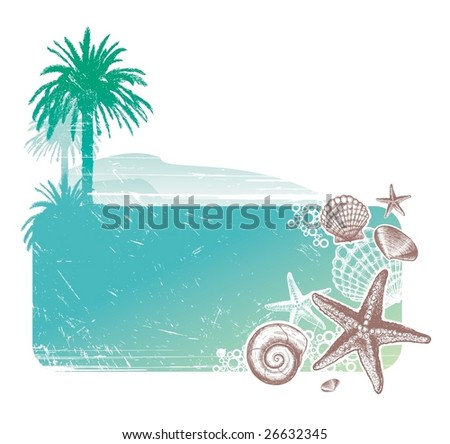 Tropical landscape & Inhabitants of the sea - stock vector