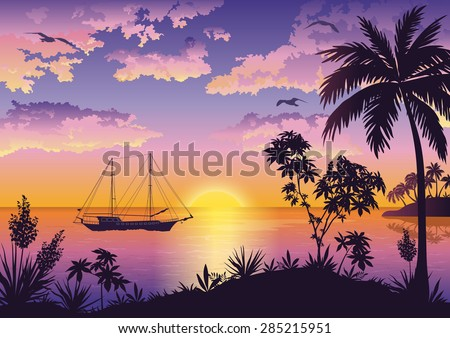 Tropical Landscape, Sunset Sea, Palm Trees and Flowers, Ship and Birds Gulls in the Sky with Clouds. Eps10, Contains Transparencies. Vector
