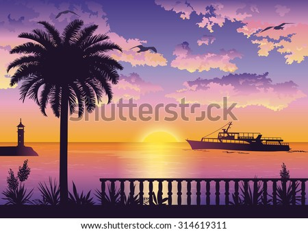 Tropical Landscape, View From the Shore with Fencing, Palm Trees and Plants, Ships and a Lighthouse in the Sea and Seagulls in the Sky with Sun and Clouds. Eps10, Contains Transparencies. Vector