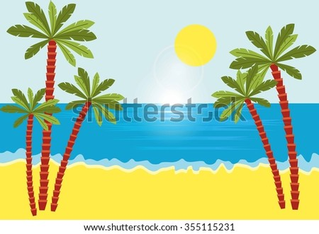 Tropical landscape with beach , sea and palm trees. - stock vector