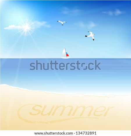 "Tropical landscape with beach, sea, yatch and ""Summer"" written on golden sandy beach - stock vector"