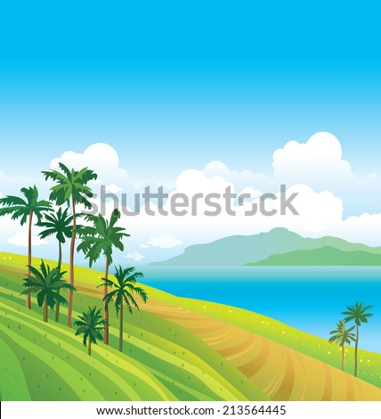 Tropical landscape with coconut palms and calm sea on a blue sky. Natural vector. - stock vector