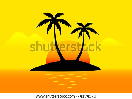 Tropical landscape with palm trees - stock vector