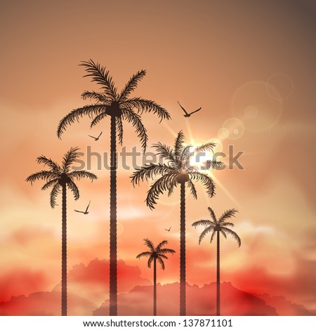 Tropical landscape with palm trees. Eps 10
