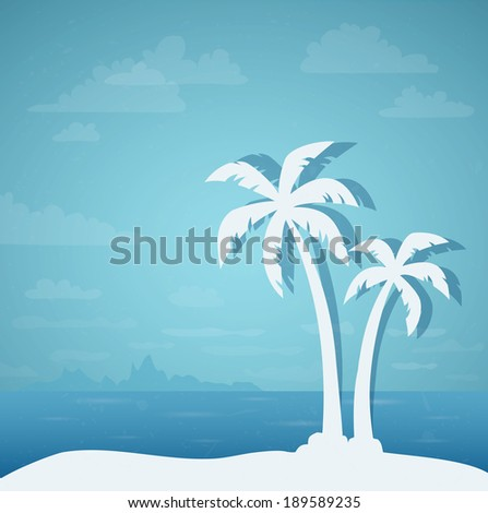 Tropical landscape with palms - stock vector