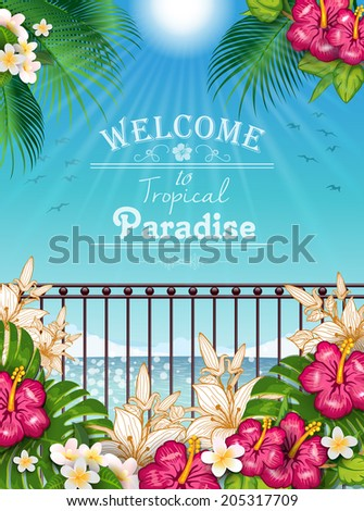 Tropical landscape with vegetation and railing-editable-transparency blending effects and gradient mesh-EPS 10. - stock vector