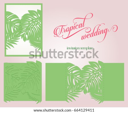 Tropical laser cut wedding invitation template stock vector hd tropical laser cut wedding invitation template party summer stationery for lazer cutting fancy palm stopboris Images