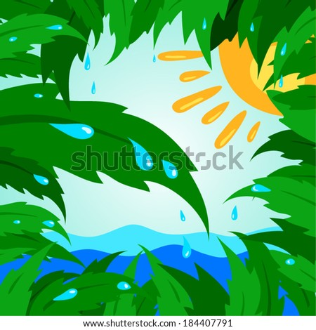 tropical leaf leaves tree green sun drops rain - stock vector