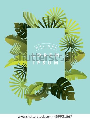 tropical leaf template vectorillustration stock vector 459931567