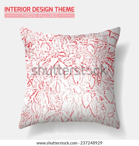 Tropical Leaves & Flowers Decorative Throw Pillow design in Red. Original floral pattern is masked. Interior design element. Creative Sofa Cushion. Vector design template is layered, editable.  - stock vector