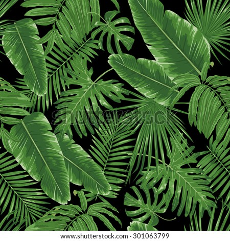 Tropical leaves, night jungle. Seamless, detailed, botanical pattern. Vector background. - stock vector