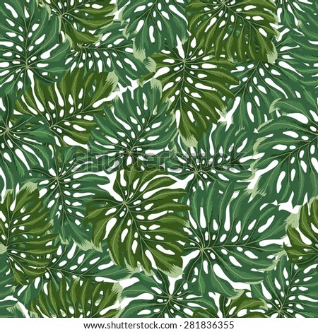 Tropical leaves pattern. Vector green seamless texture. Seamless leaves background - stock vector